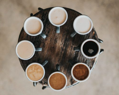 A selection of coffee made by our coffee machines